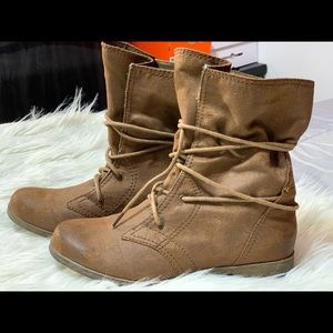 New Brown Combat Boots Size 7M